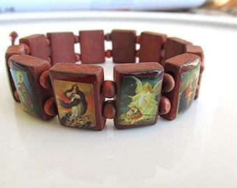 Vintage wooden bead bracelet Catholic bracelet religious jewelry Christian Jesus Mary saints Catholic wooden bracelet unusual unique gift.