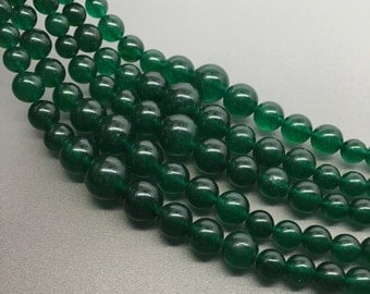 "16""Full Strand 6-14mm Dark Green Jade Graduated  Round Beads, Wholesale Graduated Necklace"