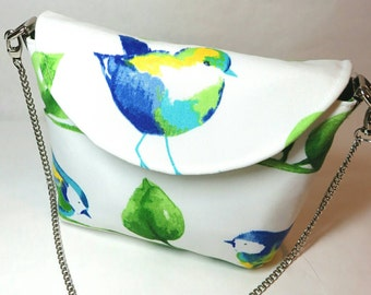 White purse - Bird purse - fabric purses - shoulder bag - bird bag - gift for her - handmade bags - fabric handbags - floral handbag