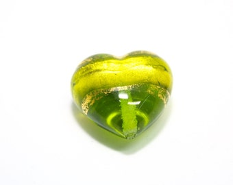 Murano Bead, 20mm Murano Heart, Green Murano Heart, Green Heart Bead, Venetian Glass Bead, Murano Glass Focal Bead, Green Focal Bead