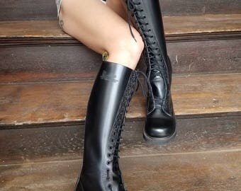 Vintage 1990s 90s Rare women's Doc Marten's chunky leather cyber goth knee high black combat boots deadstock made in England UK 3 US size 5