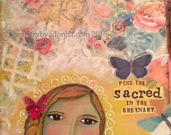 Angel Wall Art Print Girl Inspirational Mixed Media Cherish Sacred