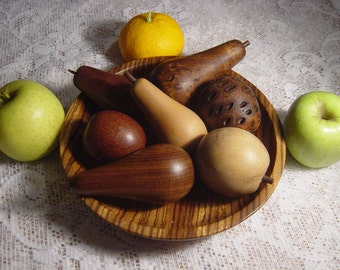 stunning mid century hardwood bowl selection of fruits,treen,woodwork,arts & craft