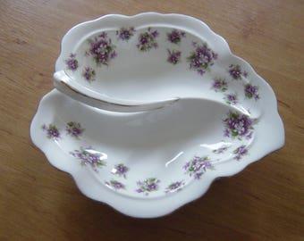 "beautiful royal albert ""sweet violets"" fine bone china leaf dish"