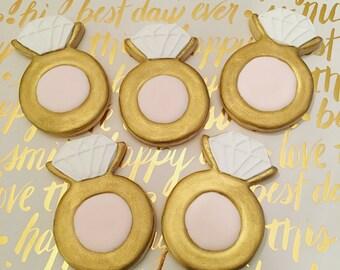 Diamond Ring Engagement Wedding Decorated Sugar Cookies