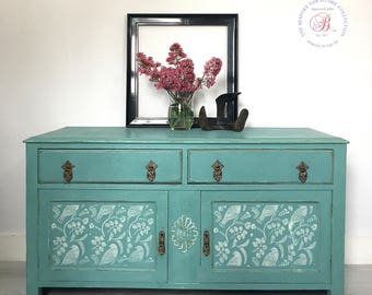 Vintage painted sideboard. Turquoise sideboard. Vintage furniture. Tv cabinet. Vintage cabinet. Vintage unit.cupboard. Drinks cabinet.