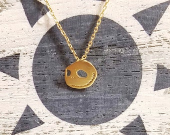 18K Gold Filed Brass Halloween Theme Ghost Skull Pendant Necklace Scary, Fun, Holiday