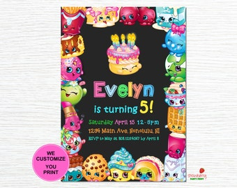 Shopkins Birthday Invitation, Shopkins Invitation, Shopkins Invitation Digital, Shopkins Invitation Printable, Digital File