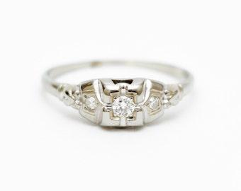 Engagement Ring, Diamond Engagement Ring, Vintage Diamond Ring, Vintage 1930' Ring, 18K White Gold Diamond Ring, 18K Gold Ring