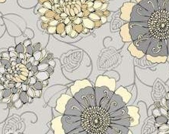 "By The HALF YARD - Shades of Grey by Exclusively Quilters, Pattern #8828-99 Tan and Gray Tossed 1.5"" - 2"" Flowers on Cream,"