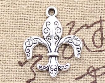 8 Fleur De Lis Charms Antique Silver Tone France Pendant Charm Bracelet Bangle Bracelet Pendants #592