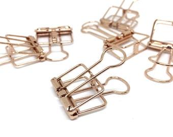 Rose Gold Copper Bulldog Binder Clip 6 Pack