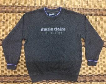 Vintage 90's Marie Claire Homme Sport Classic Design Skate Sweat Shirt Sweater Varsity Jacket Size L #A565