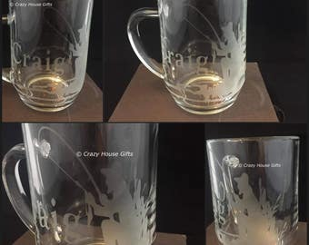 Personalised tankards, Father's day gifts, beer glass, etched glasses, engraved glasses, gifts for him,