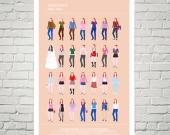 MEAN GIRLS minimalist movie poster, Lindsay Lohan as 'Cady Heron' all looks, fashion print, Girly Art Print, pink wall art, Gift for her