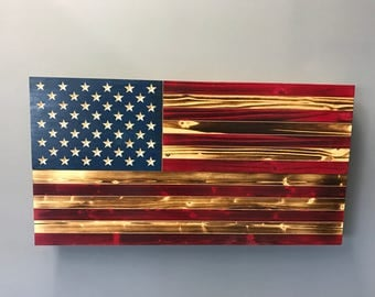 Large colored wooden flag