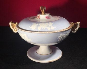 Antique Pastel Blue English Spode Sauce Tureen 1814