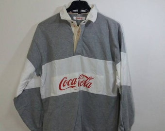 Vintage polo coca cola tee long sleeve/spellout/grey/M/made in hong kong
