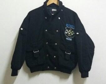 Vintage Bomber jacket nylon/punk design/black/medium
