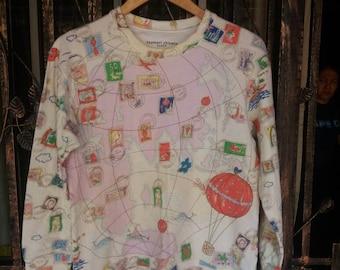 Vintage Tsumori Chisato sleep sweater fullprint map design/medium/japan design/issey miyaki