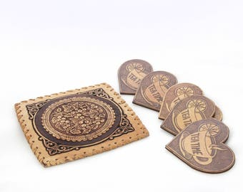Set of 5 coasters with hot pad
