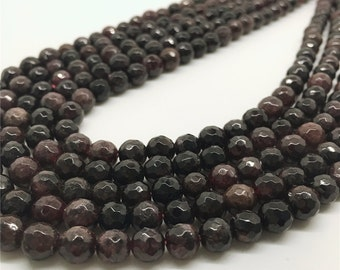 6mm Faceted Garnet Beads, Gemstone Beads, Wholesale Beads