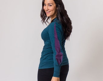 Evergreen and Plum long-sleeve, v-neck top, hemp and organic cotton stretch jersey