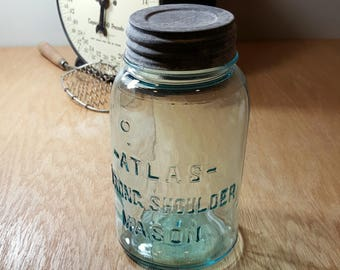 VINTAGE ATLAS JAR Blue Canning Jar Antique Farmhouse Rustic Kitchen Mason Jar Zinc Lid Strong Shoulder Quart Blue Jar