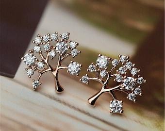 Life tree earrins, customize clip on earrings, non-pierced earrings, tree Clip Earrings, simple cubic zirconia , hypoallergenic