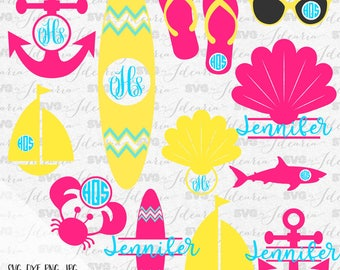 Summer Monogram Frames, Monogram Bundle Svg, summer svg, beach svg, flip flop svg, lake svg, sea svg, sunglasses svg, boat svg, seashell svg