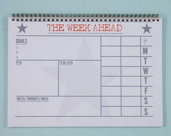 Weekly Desk Planner | To Do List | Productivity Planner | Weekly Schedule A4 Pad | Weekly Desk Organiser | Weekly Agenda | A4 Spiral Planner