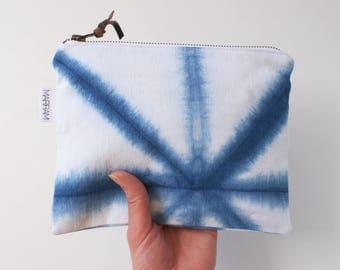 Shibori Indigo zipper pouch