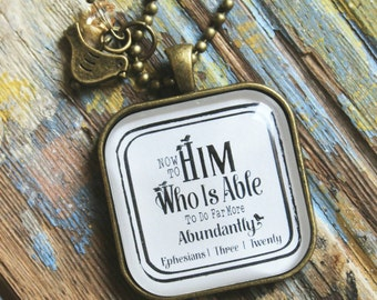 Necklace-He is Able-Bible Necklace-Handmade