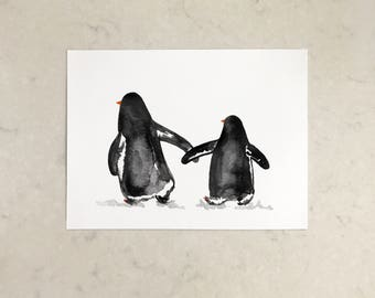 Two Penguins A4 Print