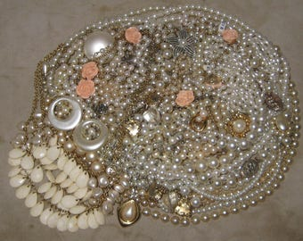 1 1/2 Lbs Mixed Vintage To Now Junk Jewelry Lot Craft Repair Faux Pearl Lot 94