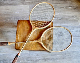 2 Spalding Match Play Badminton Racquets, Rustic Wood and Aluminum, Mid Century Athletic Wall Decor