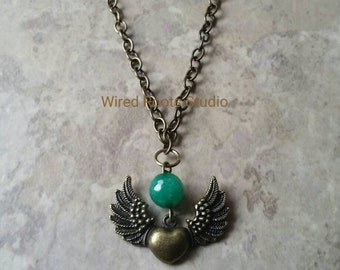 Emerald jade and angle wing pendant, antique brass heart and wings pendant, jade and charm brass necklace, boho style, unisex gift, gemstone