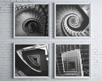 Black and White Photos, Set of 4 Prints, Set of 4 Wall Art, Staircase, Black and White Prints, Geometric Prints, Modern Decor, 172