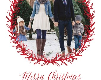 Merry Christmas Wreath, Holiday Photo Card, Personalized Card, Custom Holiday Card, Christmas Card