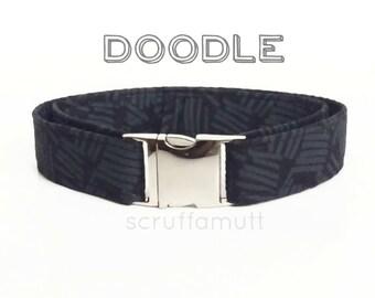 Doodle Dog Collar / Black and Grey