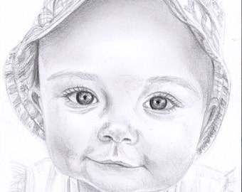 """A6 or 6x4"""" PENCIL SKETCH PORTRAIT Drawing from Photo Family Child Pet Custom Commission by Karena Higton"""