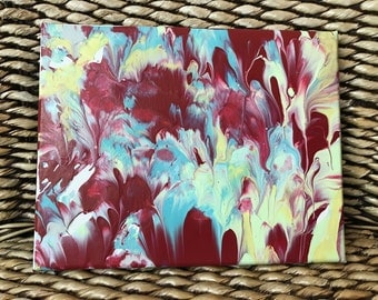 ORIGINAL Painting 8x10 on canvas, Teal, Red, Gold