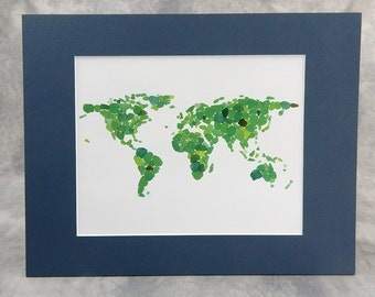 "Sea Glass Mosaic World Map, matted print - 8"" x 10"" print in 11"" x 14"" mat"