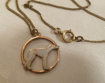 "Gold & Enamel ""Hound"" Pendant, 14k on Gold-Filled Chain"