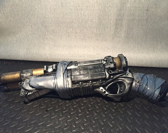 Steampunk Cosplay Large Double Barrelled Nerf Gun Foam Blaster Ray Gun, Shooter Hand Painted Prop Gun, Painted With Leather Grip