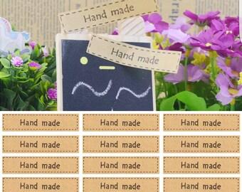32 Adhesive Kraft Hand Made Label Sticker -Craft DIY
