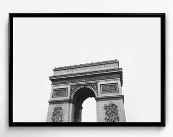 Paris Print, Paris Photo, Black and White Art, Arc de Triomphe, Paris Printable, Paris Wall Art, Digital Download, Printable Wall Art