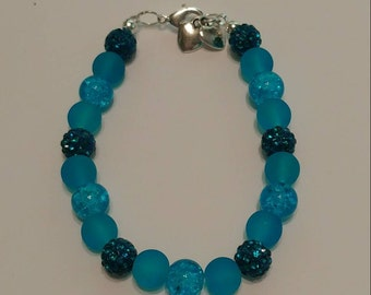 Shiny Blue Beaded Bracelet