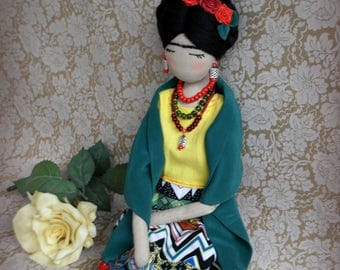 Frida Kahlo Cloth doll OOAK fabric doll Mexican art doll Frida rag doll Fabric doll Art collectible doll Unique gift for her Frida de Rivera