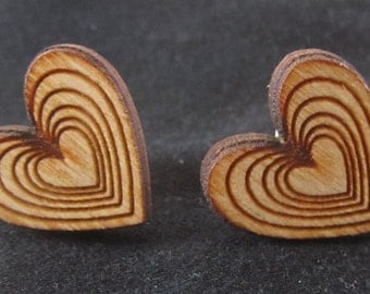 Heart laser cut wood earrings